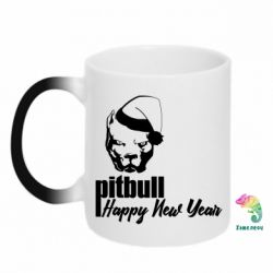 Кружка-хамелеон New Year's Pitbull