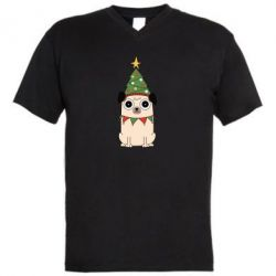 Чоловіча футболка з V-подібним вирізом New Year's Pug
