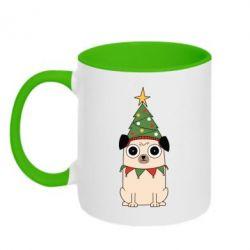 Кружка двоколірна 320ml New Year's Pug