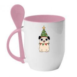 Кружка з керамічною ложкою New Year's Pug