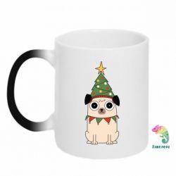 Кружка-хамелеон New Year's Pug