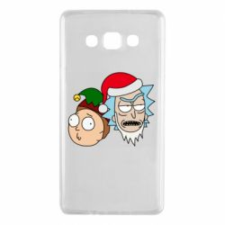 Чехол для Samsung A7 2015 New Year's Rick and Morty