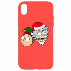 Чехол для iPhone XR New Year's Rick and Morty