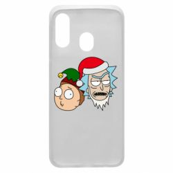 Чехол для Samsung A40 New Year's Rick and Morty