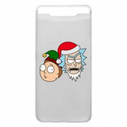 Чехол для Samsung A80 New Year's Rick and Morty