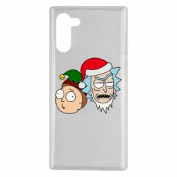 Чехол для Samsung Note 10 New Year's Rick and Morty