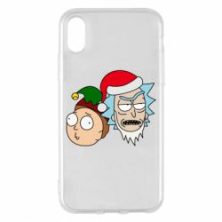 Чехол для iPhone X/Xs New Year's Rick and Morty