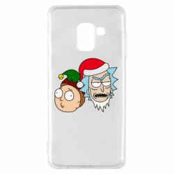 Чехол для Samsung A8 2018 New Year's Rick and Morty