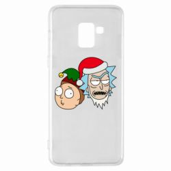 Чехол для Samsung A8+ 2018 New Year's Rick and Morty