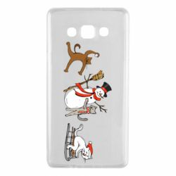 Чехол для Samsung A7 2015 New Year's winter cats