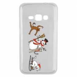 Чехол для Samsung J1 2016 New Year's winter cats