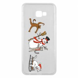 Чехол для Samsung J4 Plus 2018 New Year's winter cats