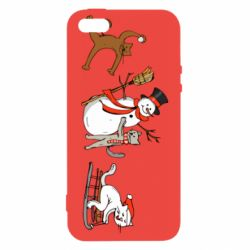 Чехол для iPhone5/5S/SE New Year's winter cats