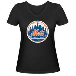 Женская футболка с V-образным вырезом New York Mets - FatLine
