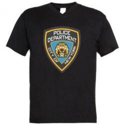 Мужская футболка  с V-образным вырезом New York Police Department - FatLine