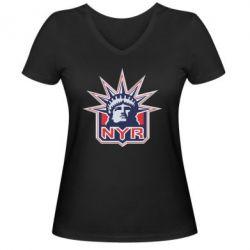 Женская футболка с V-образным вырезом New York Rangers - FatLine