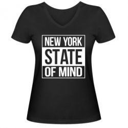 Женская футболка с V-образным вырезом New York state of mind