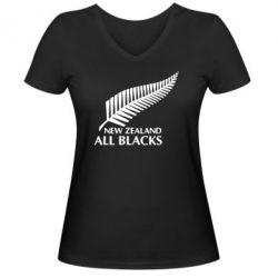 Женская футболка с V-образным вырезом new zealand all blacks - FatLine