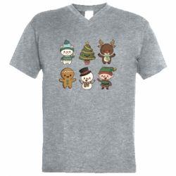 Чоловіча футболка з V-подібним вирізом Newborn New Year