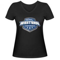Женская футболка с V-образным вырезом NHL Western Conference - FatLine