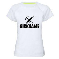 Жіноча спортивна футболка Nickname fortnite weapons