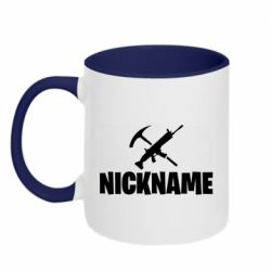 Кружка двоколірна 320ml Nickname fortnite weapons