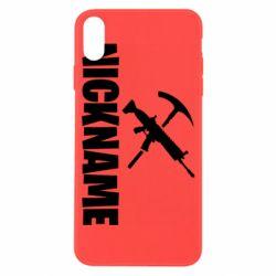 Чохол для iPhone X/Xs Nickname fortnite weapons