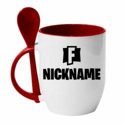 Кружка с керамической ложкой Nickname fortnite