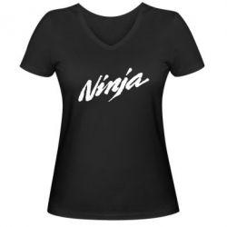 Женская футболка с V-образным вырезом Ninja - FatLine