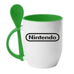 Кружка з керамічною ложкою Nintendo logo