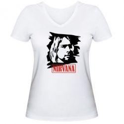 Женская футболка с V-образным вырезом Nirvana Kurt Cobian - FatLine