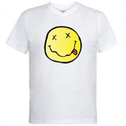 Мужская футболка  с V-образным вырезом Nirvana Logo 3D