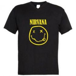 Чоловічі футболки з V-подібним вирізом Nirvana (Нірвана) - FatLine