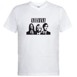 Мужская футболка  с V-образным вырезом Nirvana (Нирвана) - FatLine