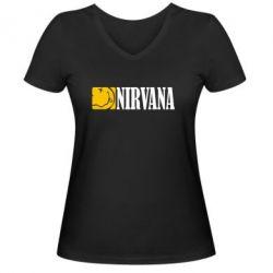 Женская футболка с V-образным вырезом Nirvana смайл - FatLine