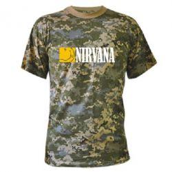 Камуфляжная футболка Nirvana смайл - FatLine