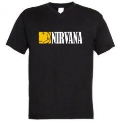Мужская футболка  с V-образным вырезом Nirvana смайл - FatLine