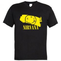 Мужская футболка  с V-образным вырезом Nirvana Smile - FatLine