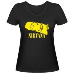 Женская футболка с V-образным вырезом Nirvana Smile - FatLine