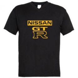 Мужская футболка  с V-образным вырезом Nissan GT-R - FatLine