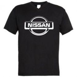Мужская футболка  с V-образным вырезом Nissan Logo - FatLine