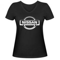 Женская футболка с V-образным вырезом Nissan Logo - FatLine