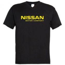 Мужская футболка  с V-образным вырезом Nissan Motor Company - FatLine