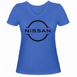 Жіноча футболка з V-подібним вирізом Nissan new logo
