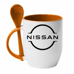 Кружка з керамічною ложкою Nissan new logo
