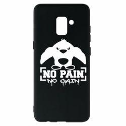 Чехол для Samsung A8+ 2018 No pain no gain пингвин
