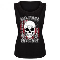 Женская майка No pain-no gain skull - FatLine