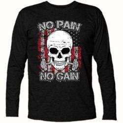 Футболка с длинным рукавом No pain-no gain skull - FatLine