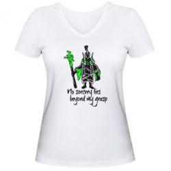 Женская футболка с V-образным вырезом no sorcery lies beyond my grasp - FatLine