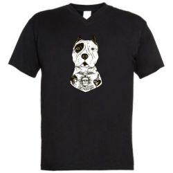 Мужская футболка  с V-образным вырезом Not a monster